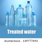 different water bottles on blue ... | Shutterstock . vector #139777693