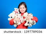 little girl play with soft toy... | Shutterstock . vector #1397789036