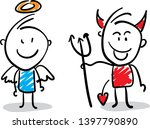 angel and devil   kindness and... | Shutterstock .eps vector #1397790890