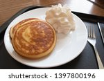 homemade stack of pancakes with ... | Shutterstock . vector #1397800196