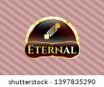 golden badge with candy icon... | Shutterstock .eps vector #1397835290