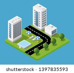isometric 3d hotel with a trees ... | Shutterstock .eps vector #1397835593