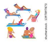 people sunbathing at summer...   Shutterstock . vector #1397897873