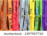 Multi-color industrial polyester sling cable, sling cable type round made from polyester for use in moving objects with a lot of weight. Including work on industry and logistics