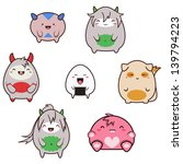 set of cute japanese style... | Shutterstock . vector #139794223