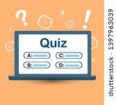 quiz on your computer screen... | Shutterstock .eps vector #1397963039
