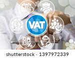 Small photo of Man uses tablet pc and virtual screen sees the acronym: VAT. VAT Value Added Tax Business Finance concept.
