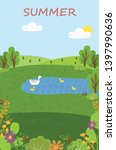 summer scenery  pond with swans ... | Shutterstock .eps vector #1397990636