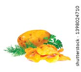 potato chips whit green parsley ... | Shutterstock .eps vector #1398024710