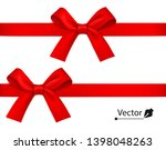 red realistic gift bow with... | Shutterstock .eps vector #1398048263