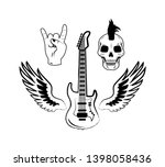 rock and roll symbols as...   Shutterstock . vector #1398058436