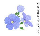 Flax Flower Icon With Seeds In...