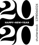 2020 happy new year black logo. ... | Shutterstock .eps vector #1398066026