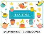 hand drawn tea time colorful... | Shutterstock .eps vector #1398090986