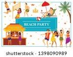flat summer beach party concept ...   Shutterstock .eps vector #1398090989