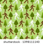 Stock vector yeti in forest pattern seamless bigfoot and trees background abominable snowman ornament 1398111140