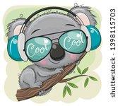 cool cartoon koala in glasses... | Shutterstock .eps vector #1398115703