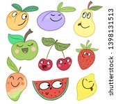 set of funny summer fruits... | Shutterstock . vector #1398131513