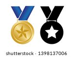 medal with star. vector... | Shutterstock .eps vector #1398137006