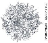 floral composition. bouquet... | Shutterstock .eps vector #1398141113