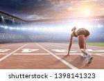 woman sprinter start ready... | Shutterstock . vector #1398141323