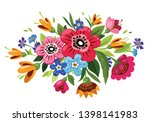 buoquet of vector flowers.... | Shutterstock .eps vector #1398141983