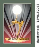 art deco style woman sculpture... | Shutterstock .eps vector #1398152063