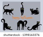 Stock vector black cats happy halloween vector 1398163376