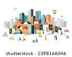 smart city  landscape city... | Shutterstock .eps vector #1398166046