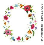 oval flower frame for... | Shutterstock .eps vector #1398187379