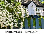Blue Picket Fence With...