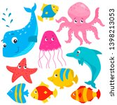 set of cartoon colorful cute... | Shutterstock .eps vector #1398213053
