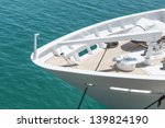 Ship bow of luxury moored yacht - stock photo