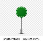 realistic round traffic sign on ... | Shutterstock .eps vector #1398251093