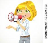cute  girl speaks in a... | Shutterstock .eps vector #139825813