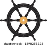 Wooden Black Ship Wheel With...