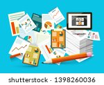 graphs on paper documents.... | Shutterstock .eps vector #1398260036