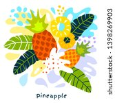 fresh pineapple tropical exotic ... | Shutterstock .eps vector #1398269903