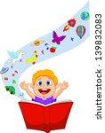 boy reading a fantasy book | Shutterstock . vector #139832083