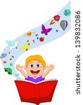 boy reading a fantasy book | Shutterstock .eps vector #139832086