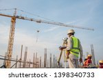 Survey Engineer at construction sitte - stock photo