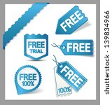 set of blue free stickers  tags ... | Shutterstock .eps vector #139834966