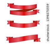 red ribbons set. vector design... | Shutterstock .eps vector #1398370559