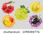set of fruit in juice splash on ... | Shutterstock .eps vector #1398384776