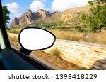 blank empty screen rearview car ... | Shutterstock . vector #1398418229
