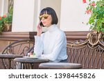 call friend. girl fashionable... | Shutterstock . vector #1398445826