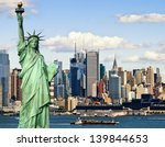 New York City With Statur Of...