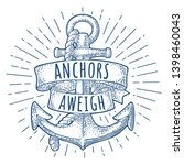anchor with ribbon and rope... | Shutterstock .eps vector #1398460043