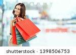shopping woman. happy girl... | Shutterstock . vector #1398506753