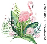 hand drawn watercolor tropical... | Shutterstock . vector #1398514526